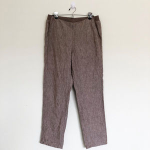 J Jill Brown Linen Pants with Pockets for sale